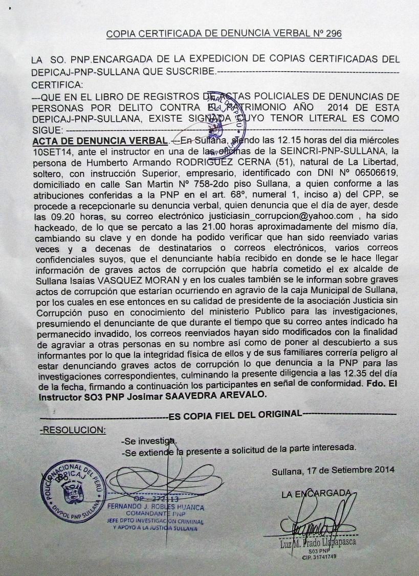 2COPIA CERTIFICADA DENUNCIA ANTE PNP
